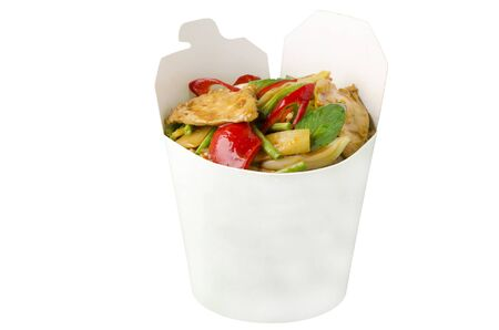 Take-out wok concept, Stir-fried spicy chiken photo