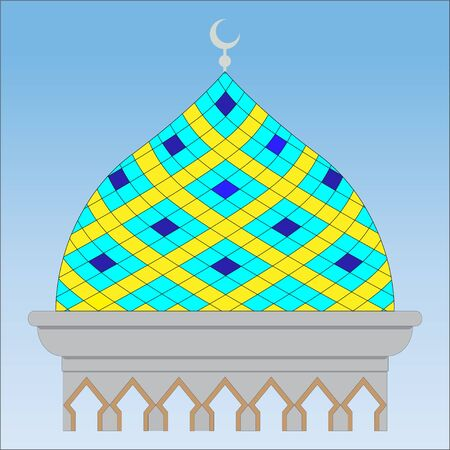 Muslim mosque dome in blue background, Abstract building construction Ilustração