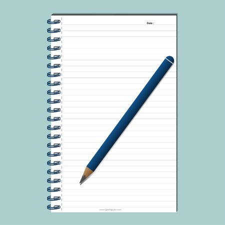 Template design for your project  white notes and pencil. vector illustration Illustration
