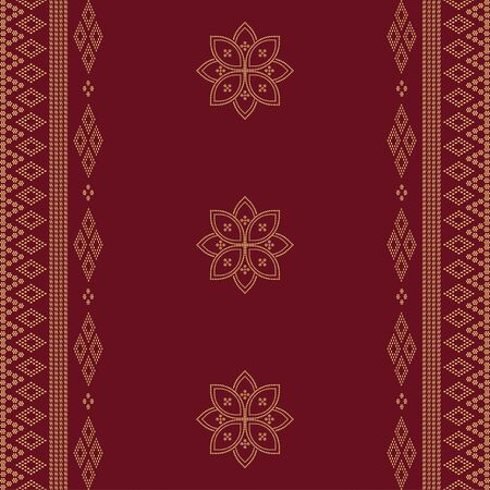 Seamless geometric ornamental vector pattern on red background. Abstract background motif ulos. creative design textile pattern. tribal ethnic design Vetores