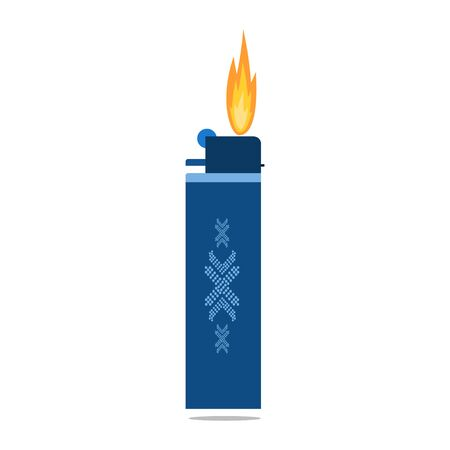 Cigarette lighter icon. Gas lighter with a burning flame