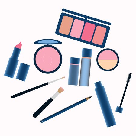 makeup tools and Cosmetics beauty elements Ilustracja