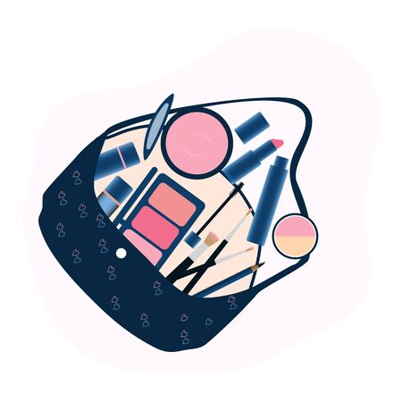 makeup tools and Cosmetics beauty elements on hand bag Ilustracja
