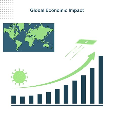 abstract background Covid-19 global economic impact. coronavirus has had a significant impact on the global economy