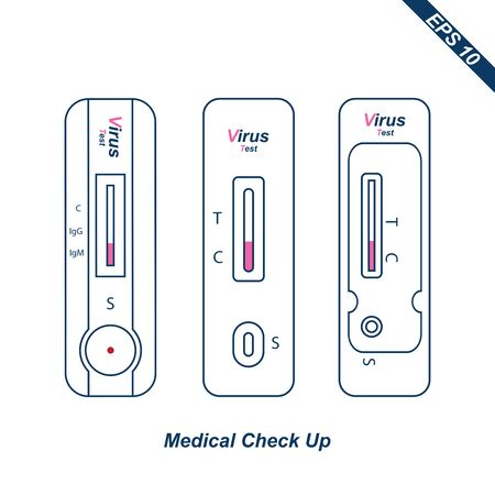 one step rapid test. Positive test result for the new rapidly spreading virus. medical check up tools icon or symbols