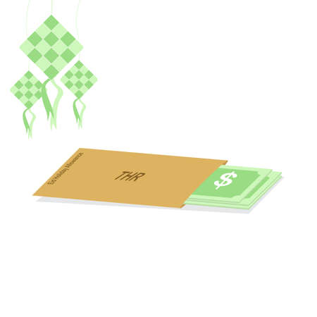 Tunjangan Hari Raya (THR) in indonesian language or religious holiday allowance. Eid diamond or ketupat