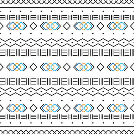 Black and white tribal ethnic pattern with geometric elements, traditional African mud cloth, tribal design. fabric or home wallpaper design Illusztráció