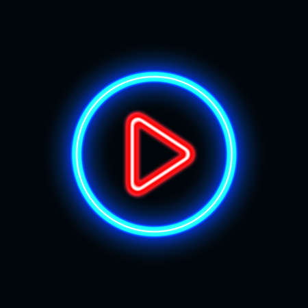Video play neon icon for website and UI material. vector illustration