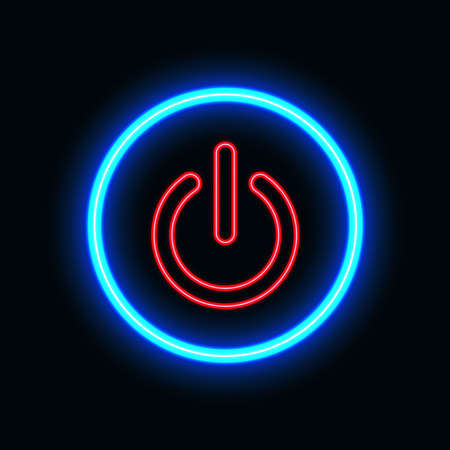 Power on neon icon for website and UI material. vector illustration