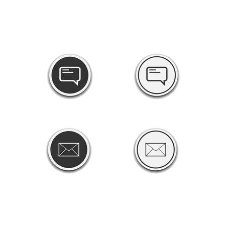 messaging and email icon isolated on white background, web template element, mobile app material, UI, UX. vector illustration