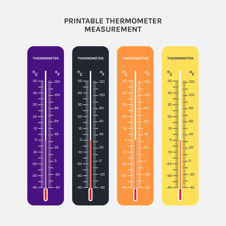printable of thermometer use for measurement of air temperature, body and other measurement purposes 向量圖像