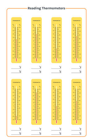 printable education reading of thermometers. thermometer use for measurement of air temperature, body and other measurement purposes