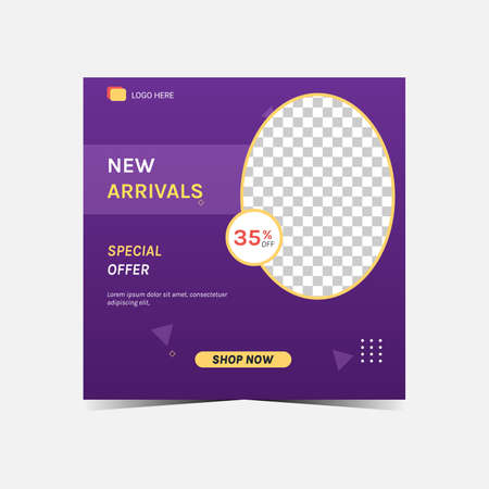 New arrivals and special offer product with square banner or promotion template. Suitable for social media post and web internet ads.