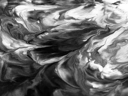 Close Up Black And White Colors Fluid Pouring Abstract Art Acrylic Painting Texture Background 写真素材