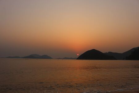 repulse: Sunset at repulse bay, Hong Kong Stock Photo