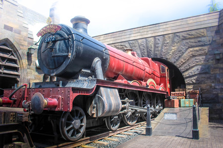 Osaka, Japan - Aprill 12, 2016: The Wizarding World of Harry Potter in Universal Studios Japan. Universal Studios Japan is a theme park in Osaka, Japan. Hogwarts express.