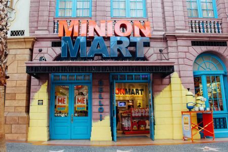mart: SINGAPORE - September 24, 2016 : Minion mart in Universal Studios Singapore. It is sell goods of minion character.