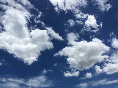 Blue sky with clouds closeup, Background