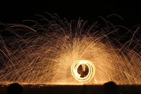 steel wool: Amazing fire show at Koh Samed, Thailand