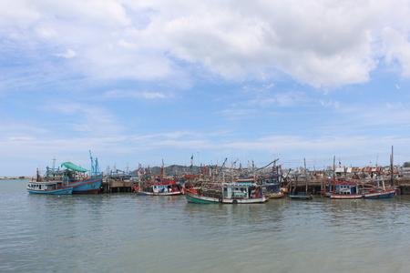 Fishing boats pier at Rayong, Thailand Stock fotó