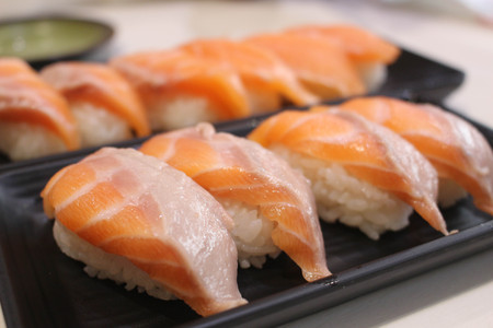 Salmon sushi with soft and blur background