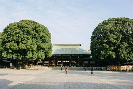 TOKYO,JAPAN - NOVEMBER 07, 2016: Meiji Shrine is a shrine dedicated to the deified spirits of Emperor Meiji and his consort, Empress Shoken. Located just beside Harajuku Station. Sajtókép