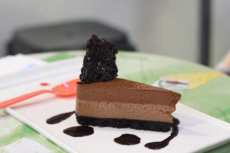Chocolate cake with soft and blur background.