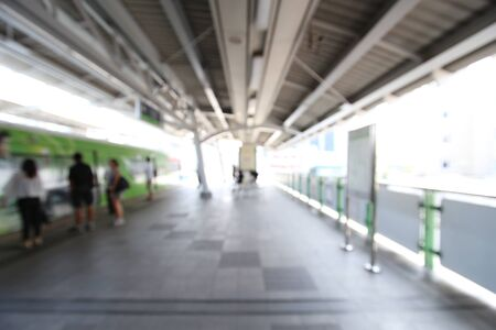 Blurred of the sky train is coming to the platform in the afternoon. Stock fotó - 80886949