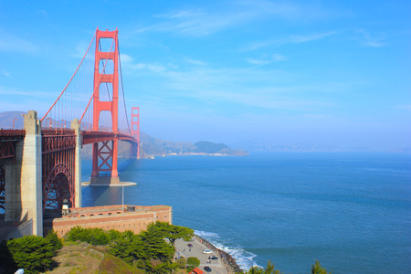 Golden Gate Bridge in a Sunny Day with Beautiful Blue Sky photo