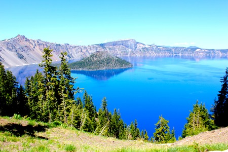 Crater Lake National Park in summer photo