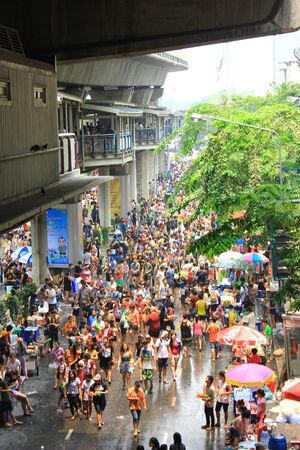 silom: Tourists in Bangkok Thailand for Songkran featival Stock Photo