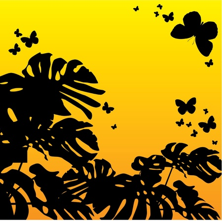 silhouettes of flying butterflies flying in the air against a background of dawn