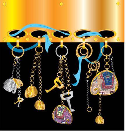 key rings with elephants  Illustration