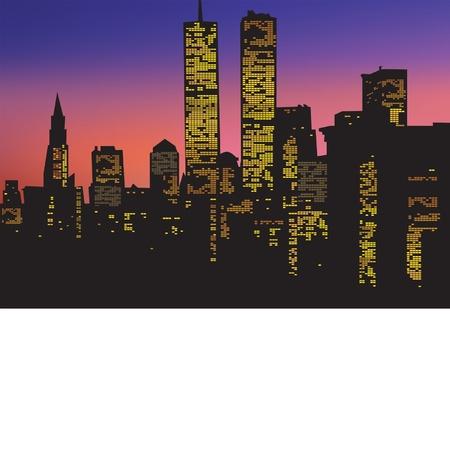 City Lights at night at sunset