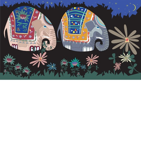 decorative elephants on evening walk Illustration