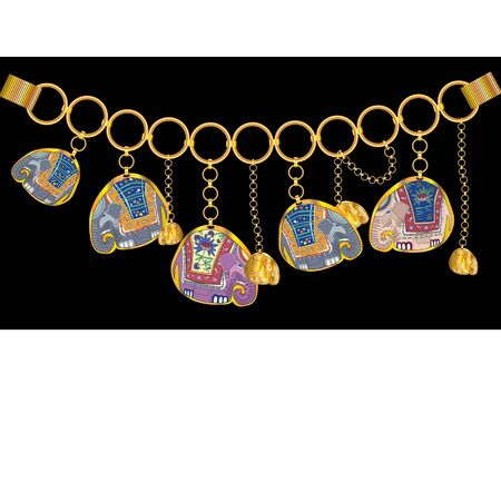 gold bracelet with elephants and chain Illustration
