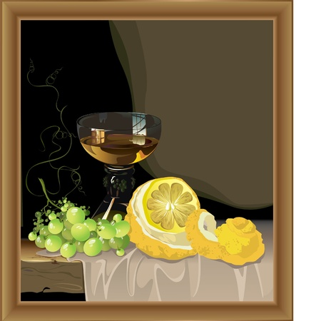 beautiful still life with glass of wine with lemon and grapes Stock Vector - 9420299