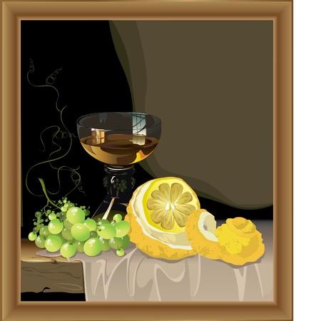 hermosa muerta con vaso de vino con limón y uvas