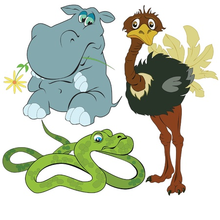 painted elephant giraffe and a boa constrictor Illustration