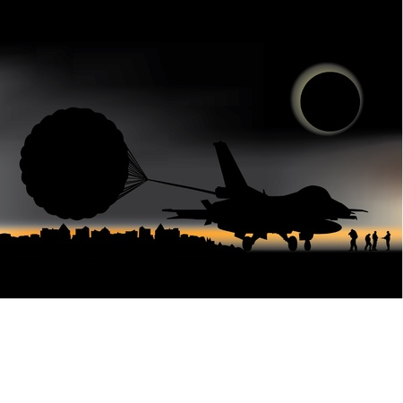 military aircraft and parachute to the backdrop of the setting sun Illustration