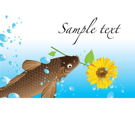 Clear clean water with lots of bubbles floating in it carp and flower Illustration