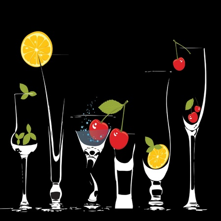 glasses of very thin glass with a drink and fruit