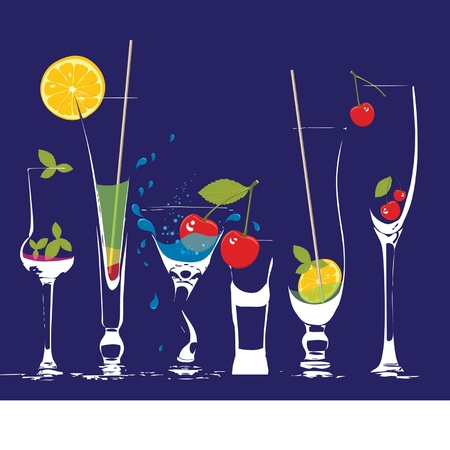 glasses of very thin glass with a drink and fruit Vector