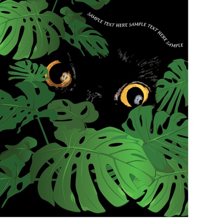 Huge leaves of a tropical flower monstera and eyes animal Stock Vector - 9426664