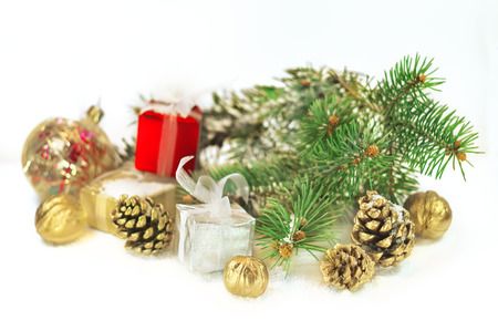 christmas decorations with golden walnuts and cones photo