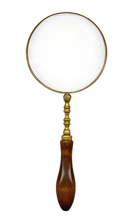 vintage magnifying glass isolated on white background photo
