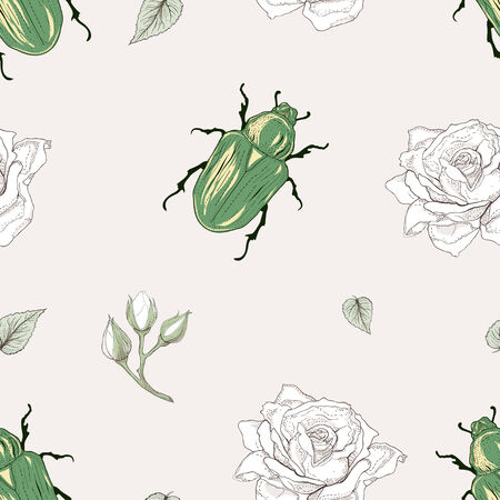 hand drawn rose chafer seamless pattern vintage engraving style