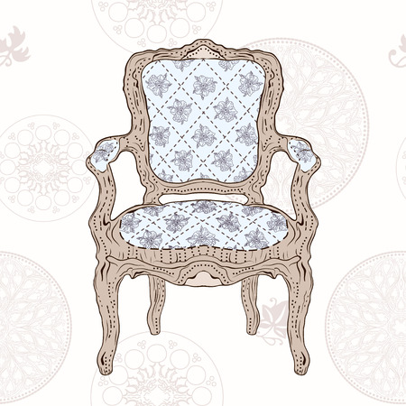 hand drawing vintage chair and seamless radial pattern Vector