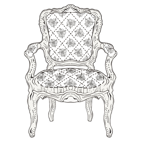 hand drawn luxurious chair vintage classic style