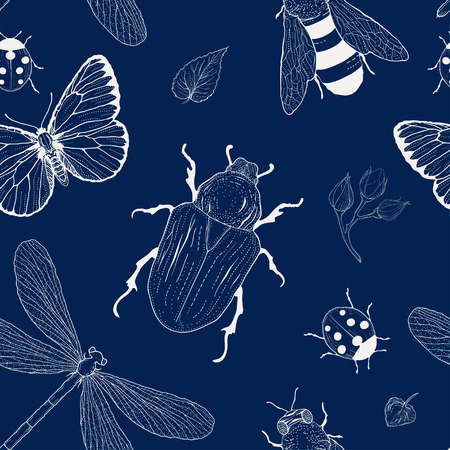 hand drawing seamless insect pattern vintage style Vector